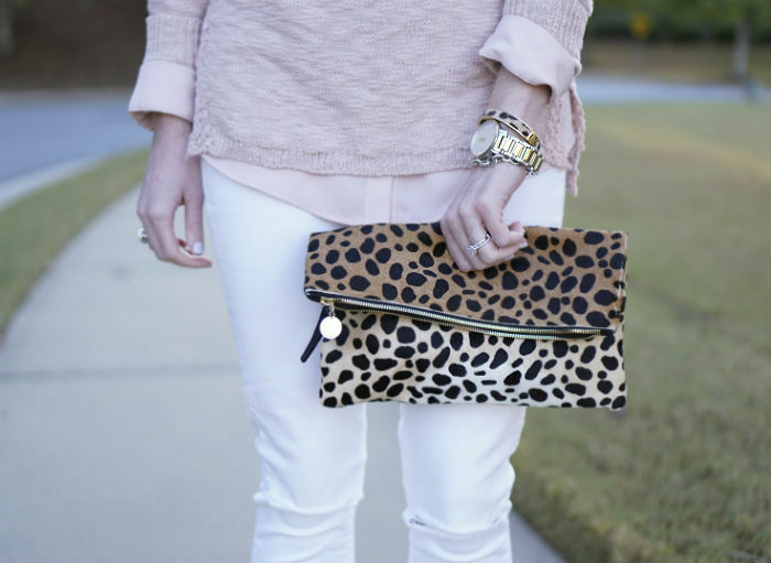 clare v, leopard clutch, foldover clutch, strawberry chic