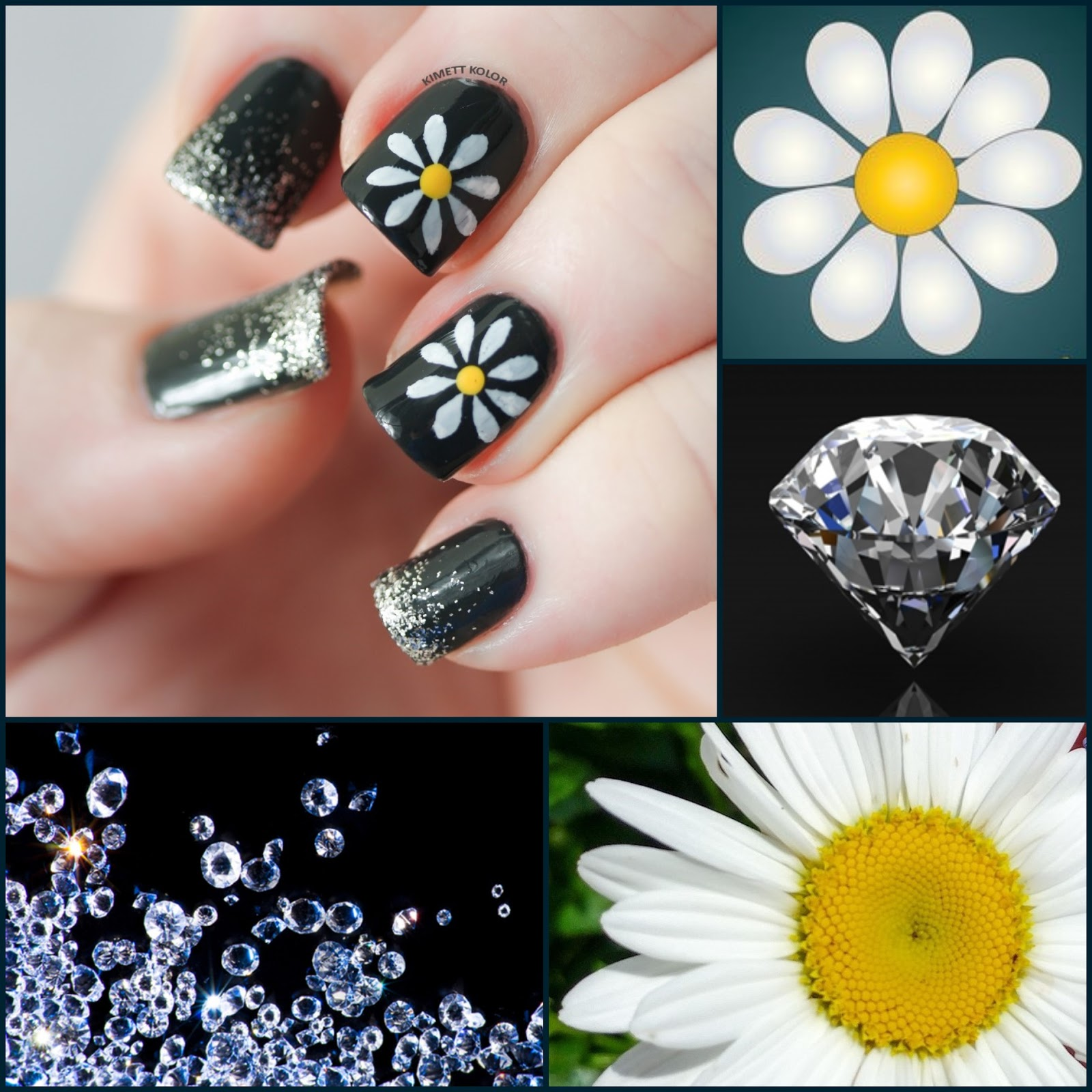 Diamonds and Daisy April Nail Art by KimettKolor