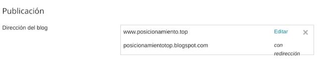 Blog en blogger con dirección personalizada correctamente activado