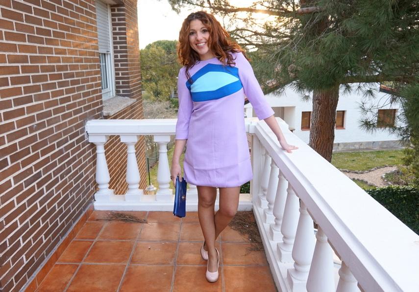 Vestido retro corto púrpura