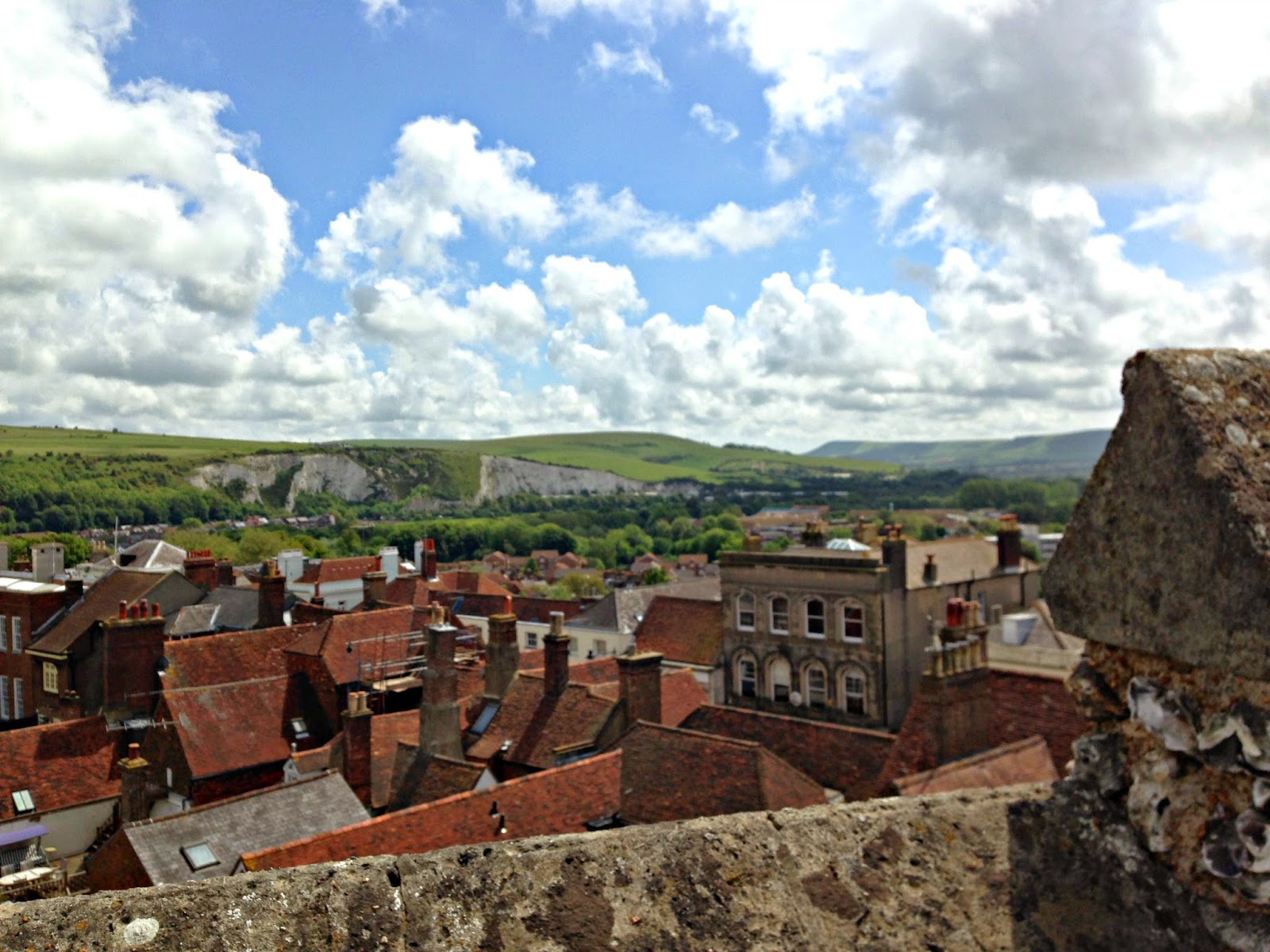 A view of Lewes town and East Sussex hills from the Castle