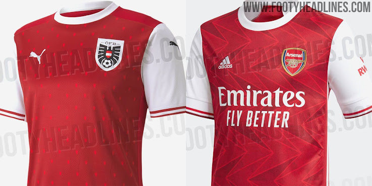 Odd Likeness Adidas Arsenal 20 21 Vs Puma Austria 2020 Home Kits Footy Headlines