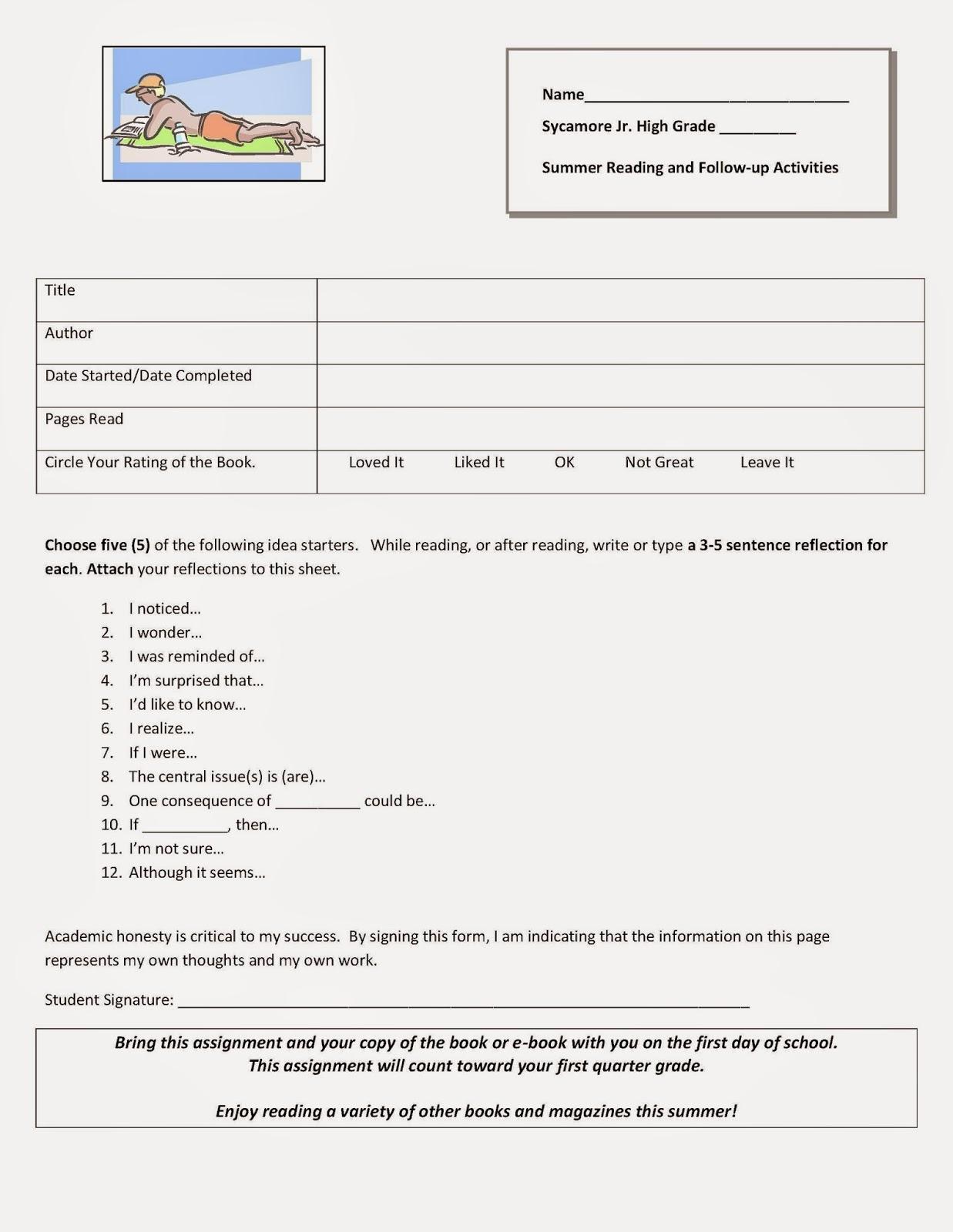 Sycamore Junior High Newsletter Summer Reading