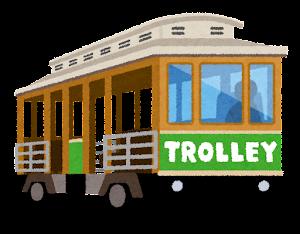 ハワイのトロリーのイラスト(緑)