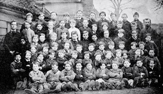 Pupils at Welham Green Boys' School in 1880, Herby might be in the picture  Image from the Peter Miller Collection