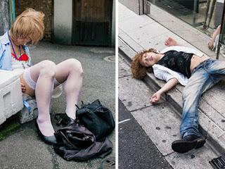Fotos de bêbados no Japão mostram o lado desagradável do álcool