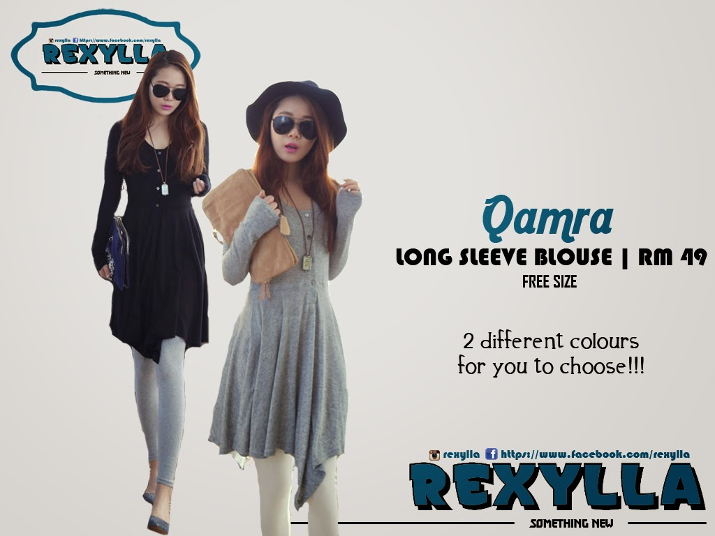 rexylla, blouse, long sleeve, asymmetric blouse, qamra collection