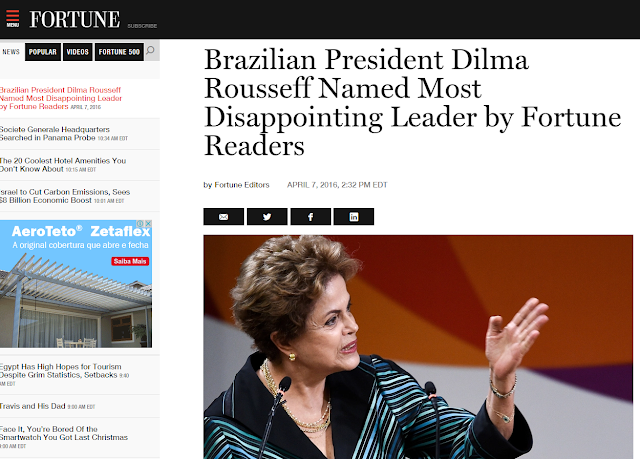 A comuna Dilma ganhou a eleição da revista Fortune de pior líder?