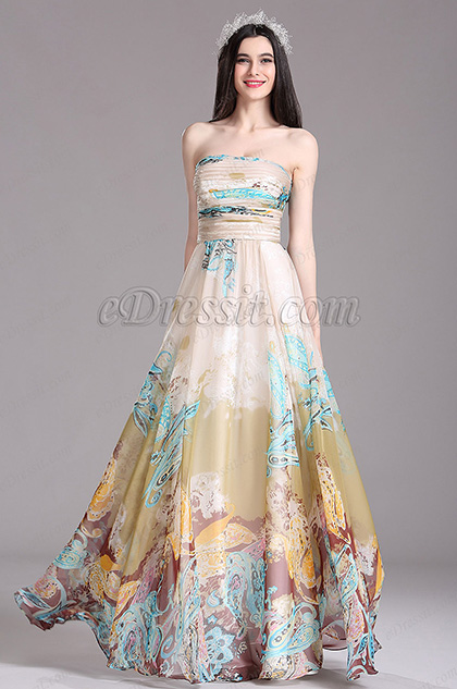 eDressit Beige Printed Strapless Long Summer Dress