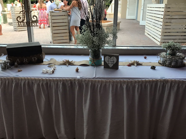 gift table, cards box, beach wedding, rustic chic, rustic wedding, baby breath flowers, key biscayne, miami