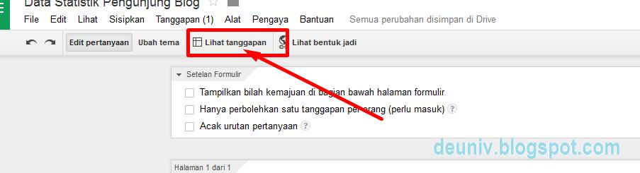 menu untuk melihat tanggapan google form