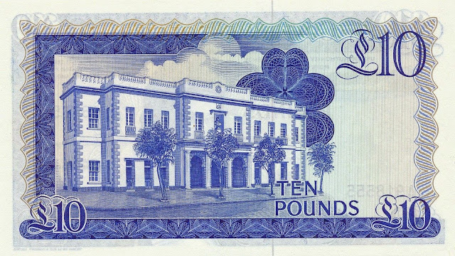 Gibraltar money currency 10 Pounds banknote 1986 Parliament House of Gibraltar