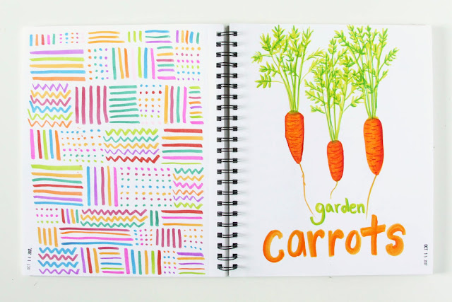 sketchbook, sketches, markers, doodles, geometric doodles, carrots, Anne Butera, My Giant Strawberry