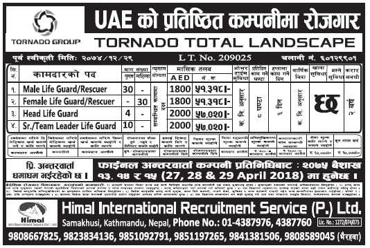 Jobs in UAE for Nepali, Salary Rs 57,020