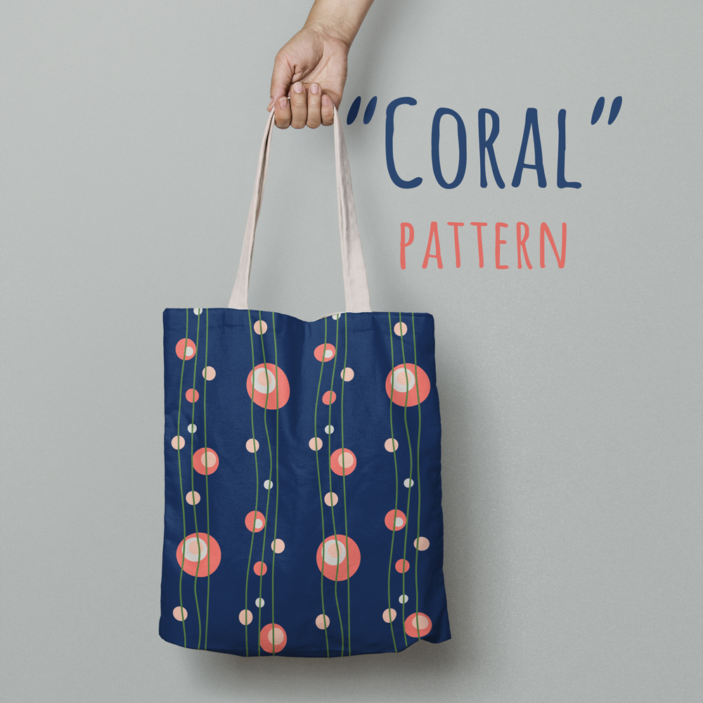"Fancy tote bag with pattern ""Coral"" by Natalia Kolodiazhna"
