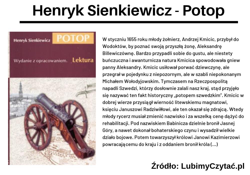 Henryk Sienkiewicz, Potop, TOP 10, Marzenie Literackie
