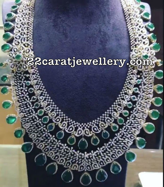 Two Step Diamond Emerald Long Set