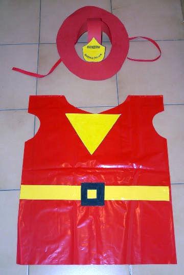 disfraz de bombero bolsa de basura
