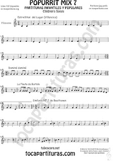 Popurrí Mix 7 Partitura de Trompeta y Fliscorno Campanitas del Lugar Dominó La Flauta de Bartolo Sinfonía Nº 7 Beethoven Popurrí Mix 7 Sheet Music for Trumpet and Flugelhorn Music Scores