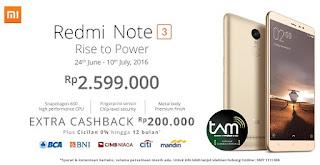 Xiaomi Redmi Note 3 Promo Cashback di Erafone