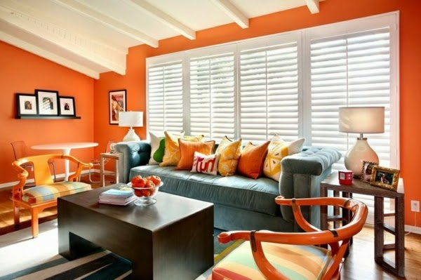 orange living room design salas decoradas en naranja colores en casa 14055