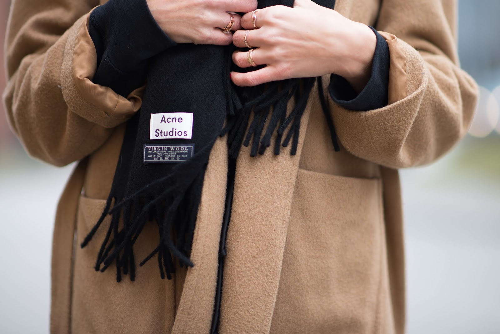 black acne scarf outfit