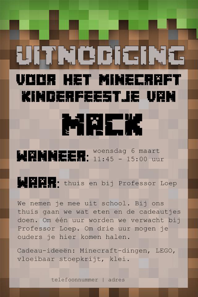 Minecraft uitnodiging voorbeeld