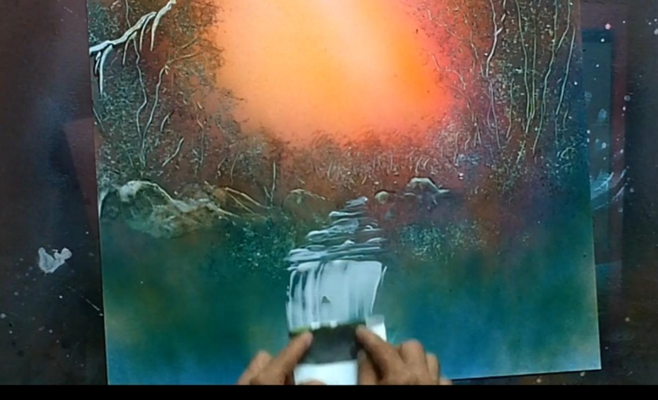 How To Spray Paint Waterfall Paintings Spray Painting