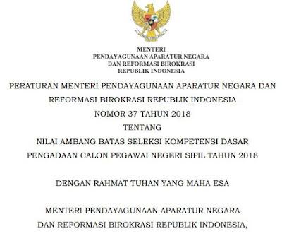 Permenpan-RB Nomor 37 Tahun 2018 Tentang Nilai Ambang Batas Selesksi Kompetensi Dasar Pegadaan CPNS 2018, https://bloggoeroe.blogspot.com