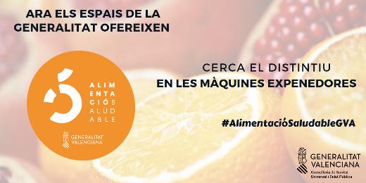 Sanidad crea un distintivo de alimentación saludable para las máquinas expendedoras de los centros de la Generalitat