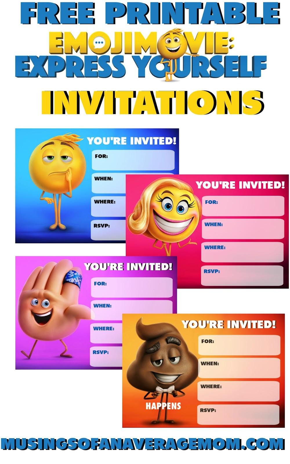 emoji party invitations free