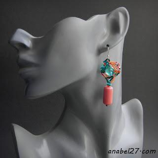 Фриформ-серьги из бисера - бирюзовый / коралловый - 207 / 365