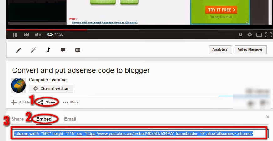 Youtube integration code