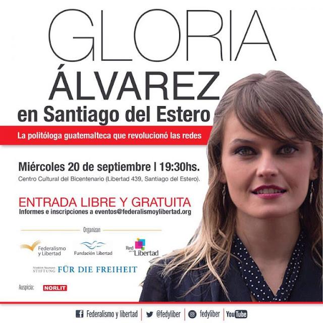 Gloria Álvarez disertará el 20 de septiembre en Santiago del Estero