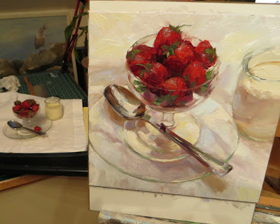 A still life painting of strawberries in progress on the easel Shannon Reynolds 2016