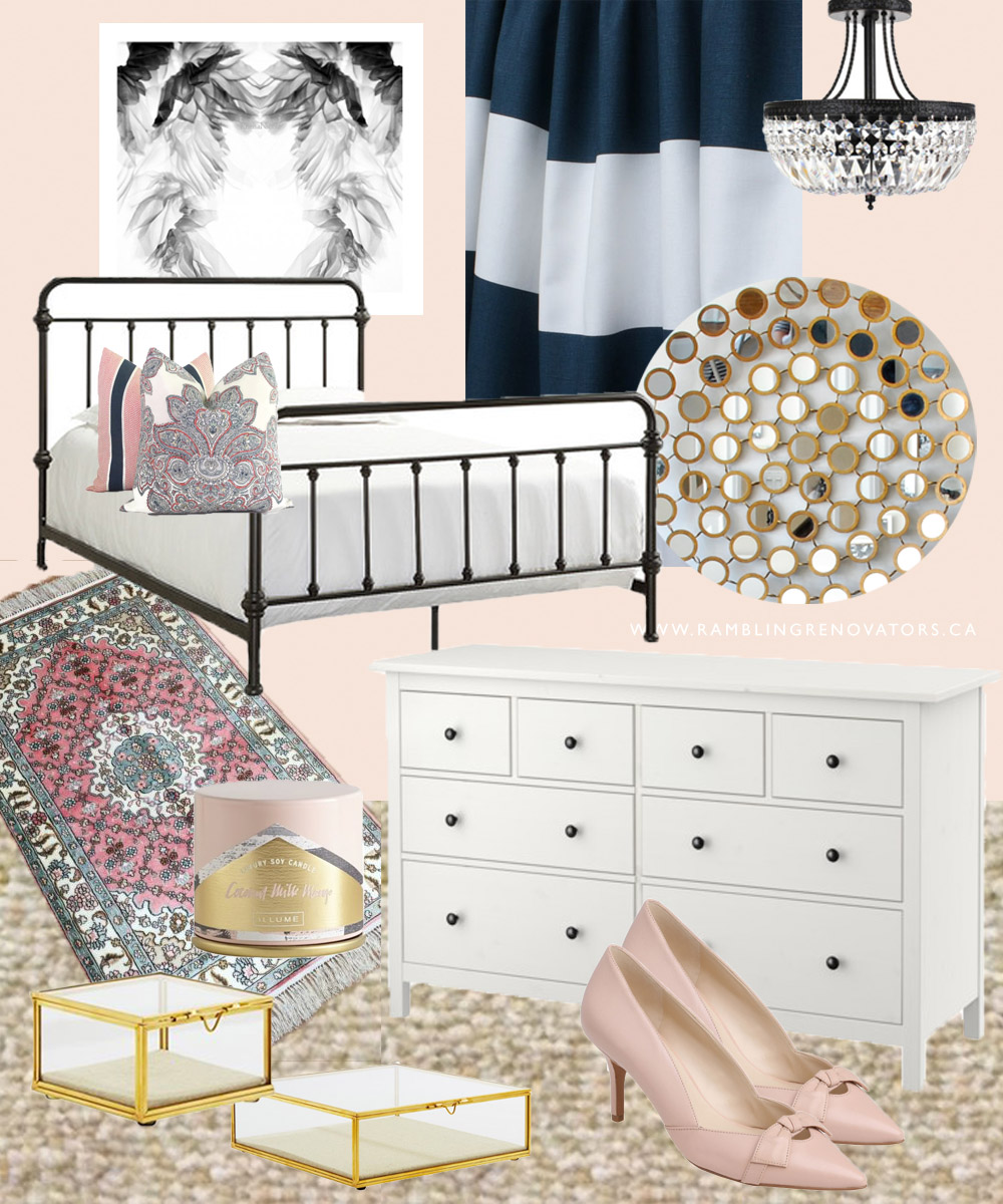 Feminine luxe bedroom with hints of pink gold and boho touches