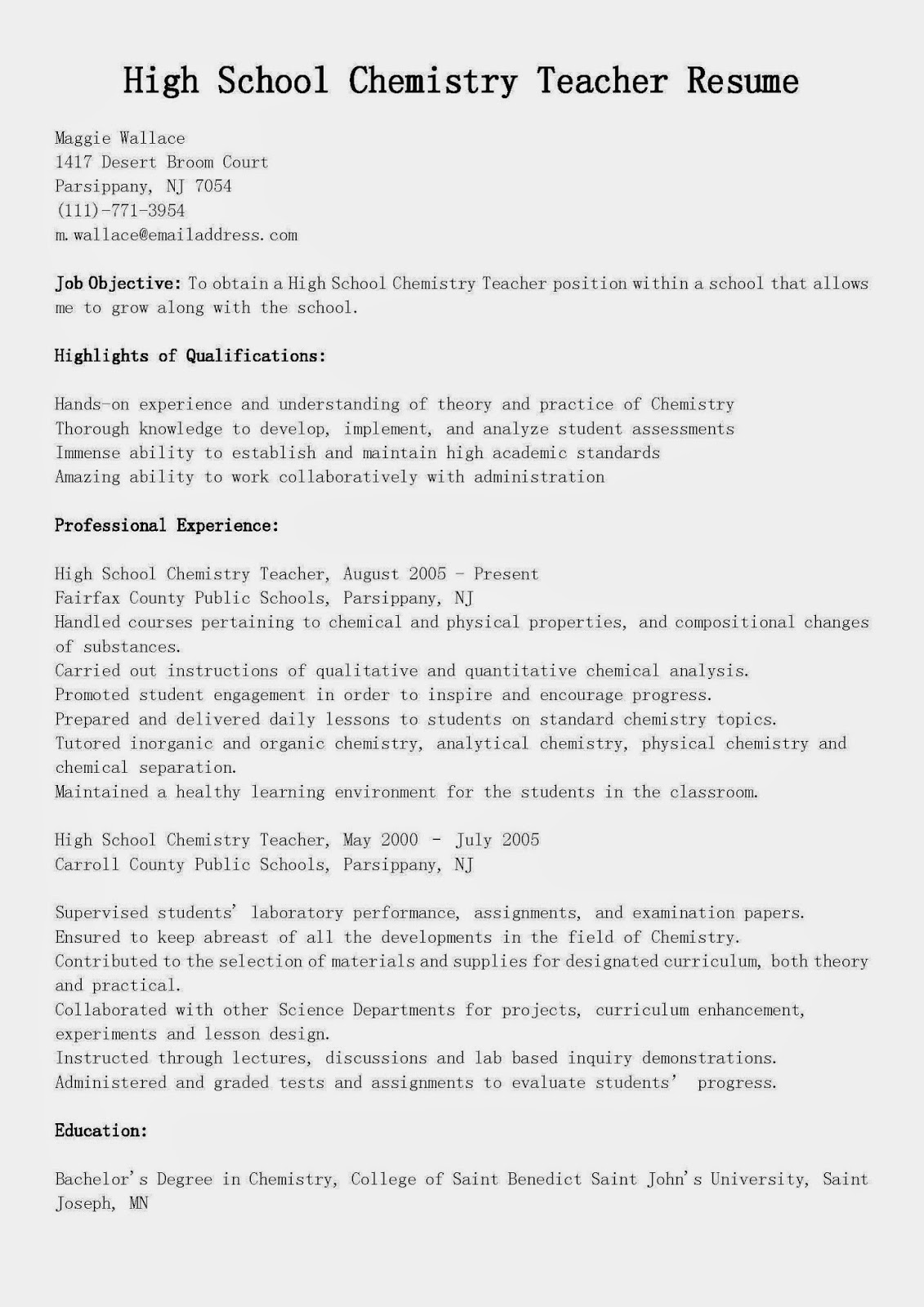 sample resume for high school chemistry teacher