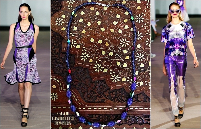 Glam Chameleon Jewelry amethyst and purple crystal beads necklace