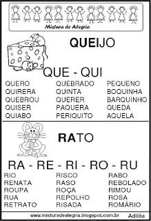 Fichas de leituras letras Q-R