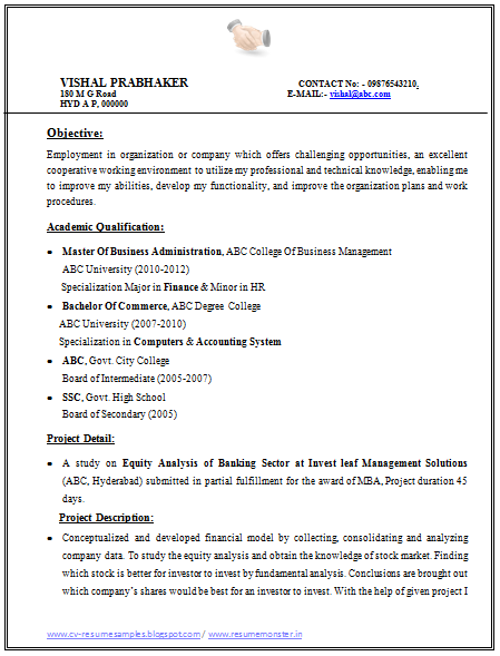 resume format for mba finance experienced resume format