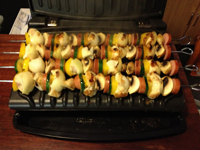 chicken and smoked sausage kebabs