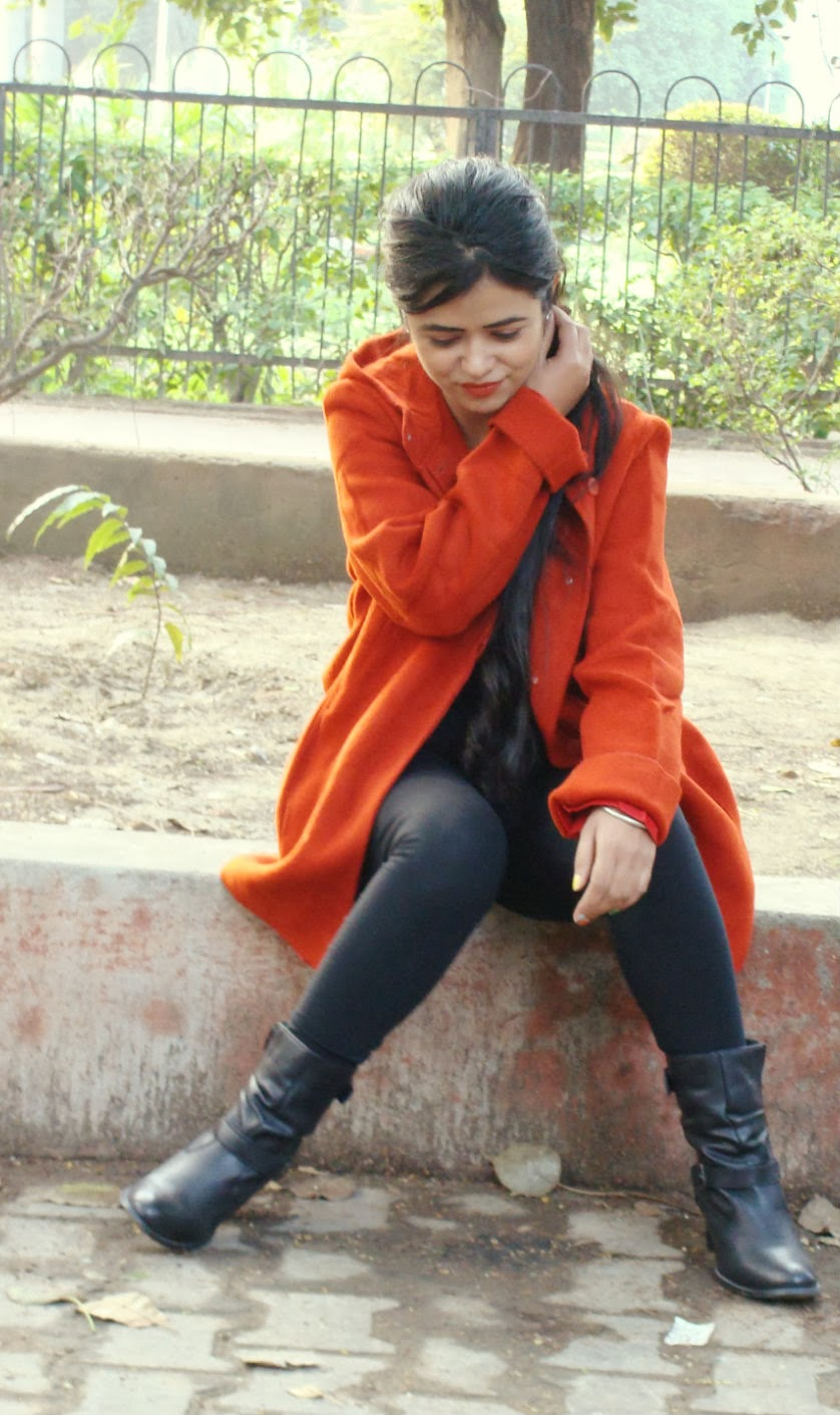 Rusty Orange Hoodie Coat OOTD
