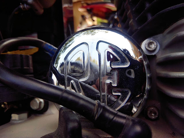 Starter motor of a Royal Enfield motorcycle