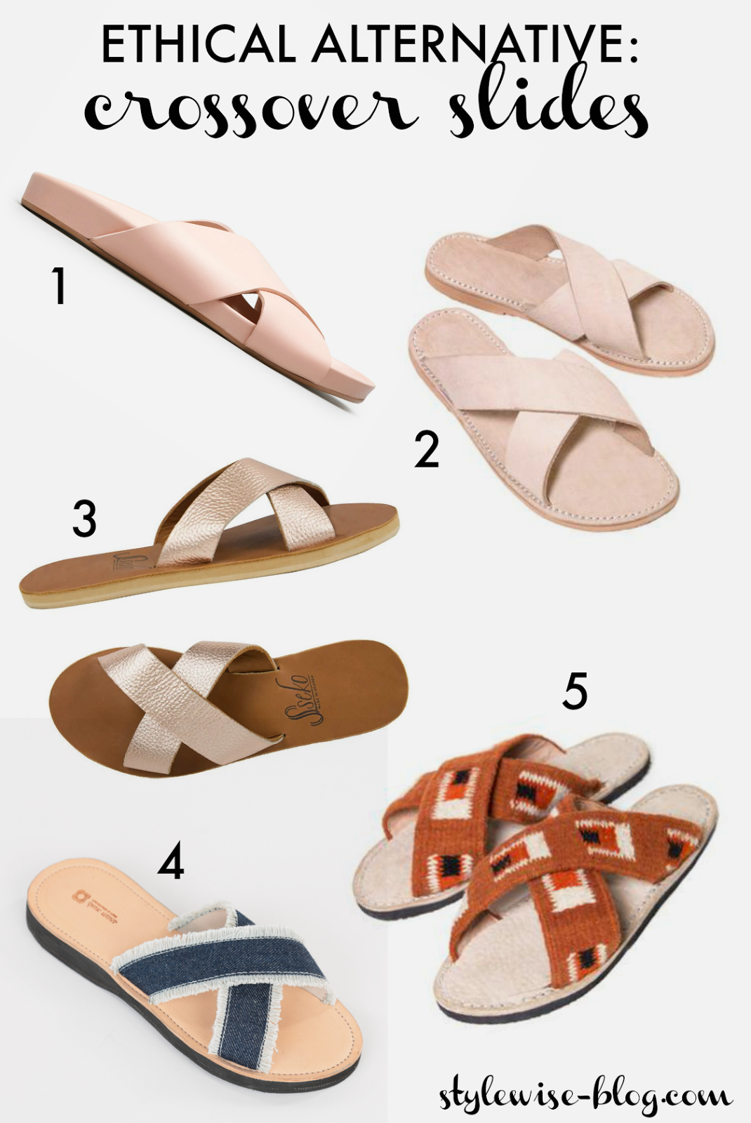 Ethical crossover slides sandals