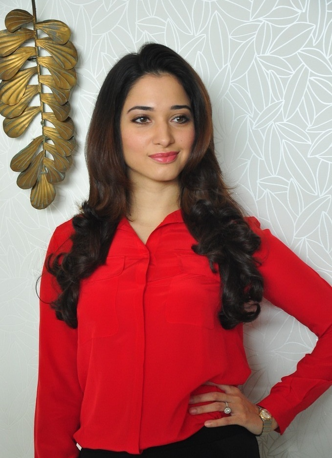 Tamanna Bhatia Photos at Airport In Hot Red Dress