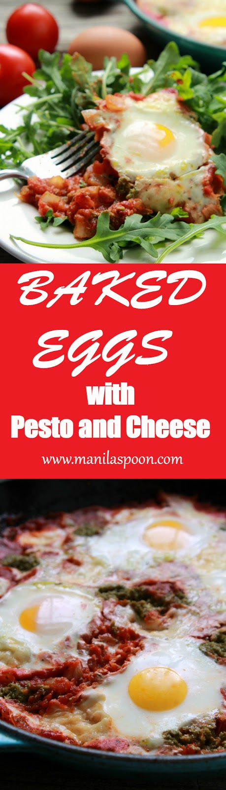 Delicious and easy baked eggs with pesto and cheese for those mornings when you fancy a hot and savory breakfast. Gluten-free and low-carb.