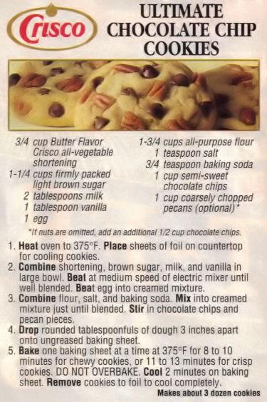 Crisco Peanut Butter Chocolate Chip Cookie Recipe