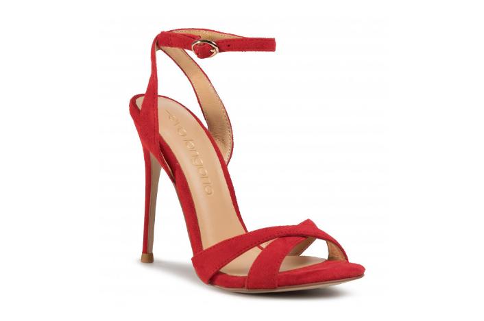 Sandale dama cu toc inalt elegante din piele naturala de antilopa rosii EVA LONGORIA