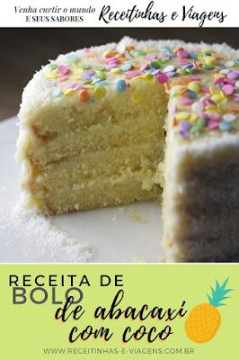 Receita de bolo de coco com abacaxi
