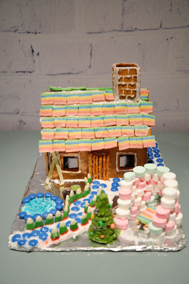 kids rainbow gingerbread house
